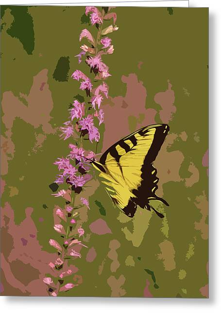 Tiger Swallowtail Digital Art Greeting Cards - Tiger on Blazing Star Greeting Card by Peg Urban