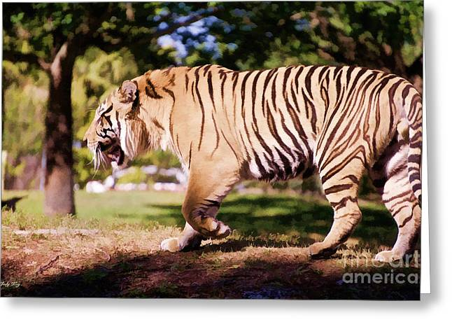 Wildcats Paintings Greeting Cards - Tiger on the Move  Greeting Card by Judy Kay