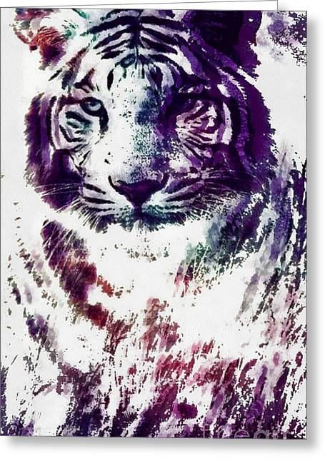 The Tiger Greeting Cards - Tiger Pop Art Greeting Card by Catherine Lott
