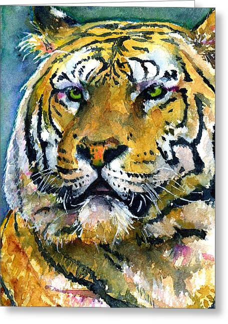 Watercolor Tiger Greeting Cards - Tiger Portrait 2 Greeting Card by John D Benson