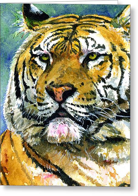 Watercolor Tiger Greeting Cards - Tiger Portrait Greeting Card by John D Benson