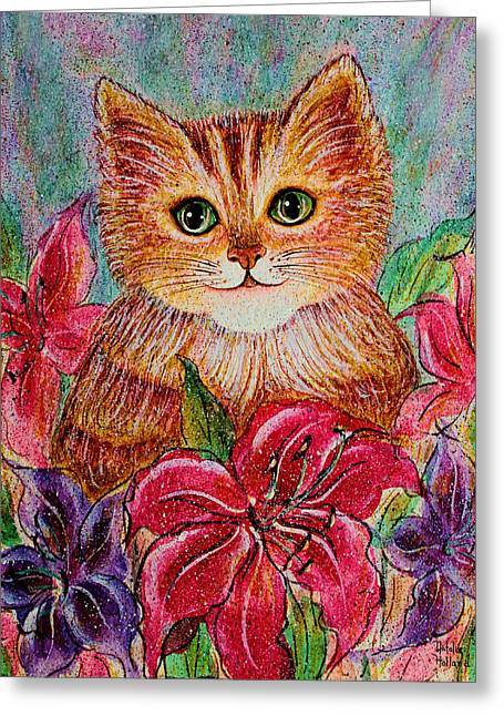 Brushtrokes Greeting Cards - Tiger Puff Greeting Card by Natalie Holland