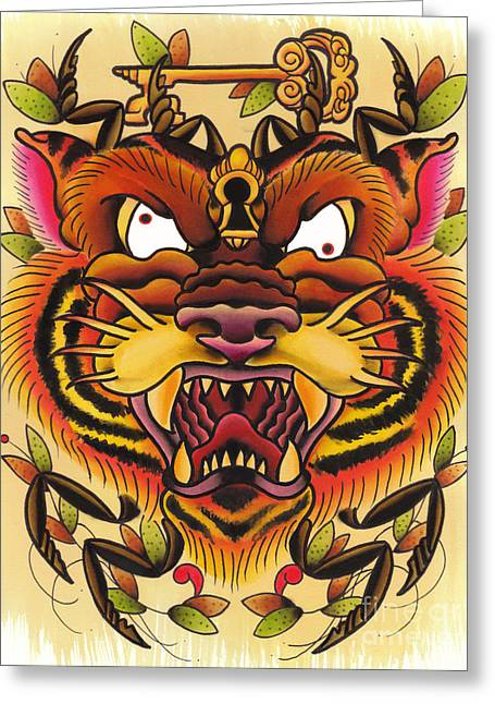 Tattoo Flash Paintings Greeting Cards - Tiger Spider Greeting Card by Lauren B