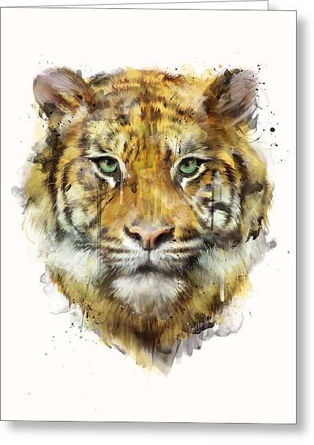 Tiger Illustration Greeting Cards - Tiger // Strength Greeting Card by Amy Hamilton