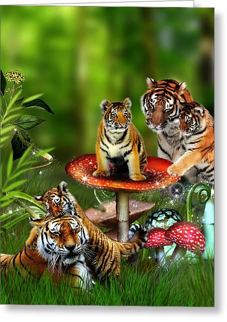 Toadstools Digital Greeting Cards - Tiger Toadstools Greeting Card by Julie L Hoddinott