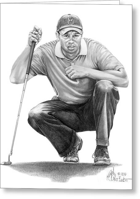 Tiger Woods Crouching Tiger Greeting Card by Murphy Elliott