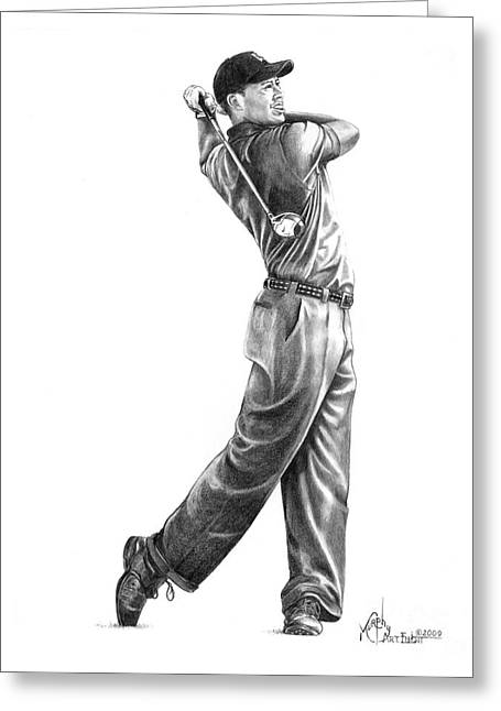 Tiger Woods Greeting Cards - Tiger Woods Full Swing Greeting Card by Murphy Elliott