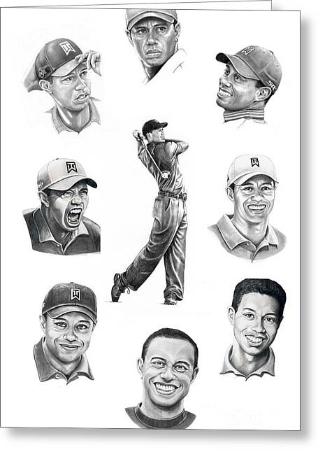 Tiger Woods Greeting Cards - Tiger Woods-Murphy Elliott Greeting Card by Murphy Elliott