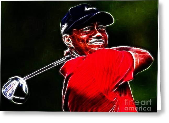 The Tiger Greeting Cards - Tiger Woods Greeting Card by Paul Ward