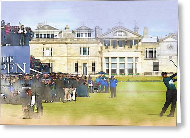 The Tiger Greeting Cards - Tiger Woods plays an approach on the 1st hole  Greeting Card by Don Kuing