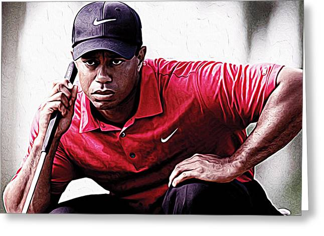 Nike Greeting Cards - Tiger Woods Greeting Card by Queso Espinosa