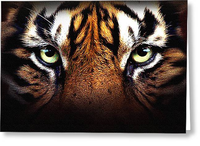 The Tiger Mixed Media Greeting Cards - Tigers Eye Greeting Card by Robert Foster