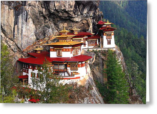 Nest Greeting Cards - Tigers Nest Bhutan Greeting Card by Jim Kuhlmann