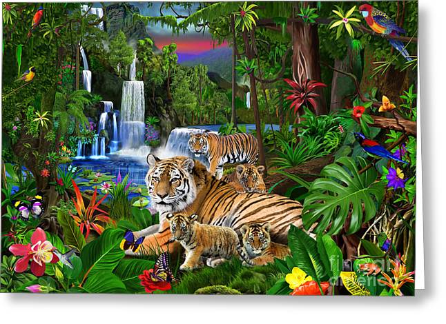 Lush Green Digital Greeting Cards - Tigers of the Forest Greeting Card by Gerald Newton