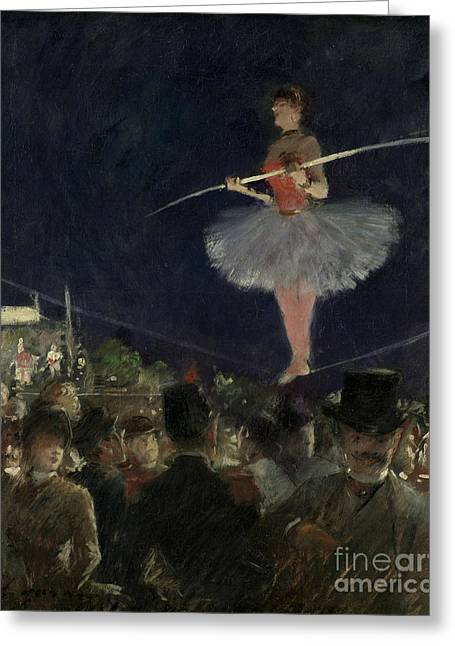 Tightrope Walker Greeting Card by Jean Louis Forain