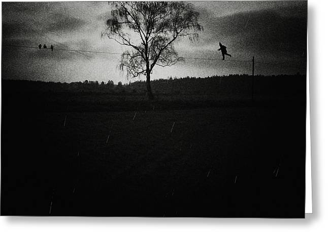 Tightrope Walker Greeting Card by Art of Invi
