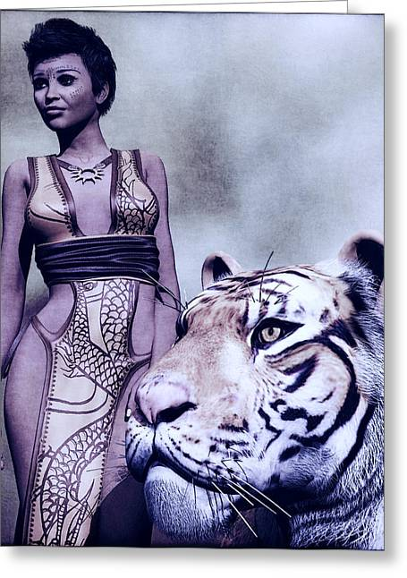 Warrior Goddess Greeting Cards - Tigress Greeting Card by Maynard Ellis