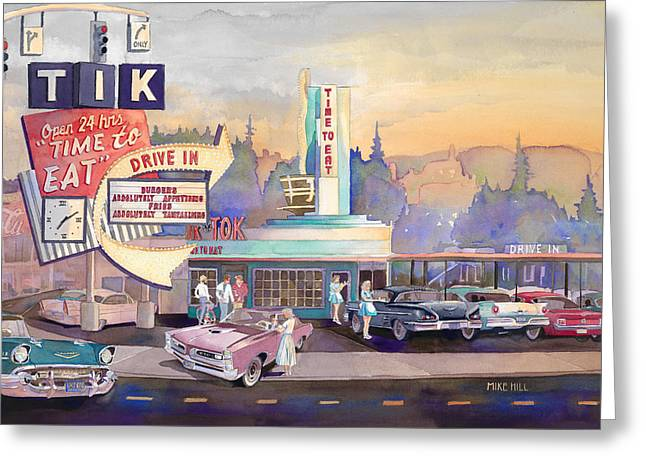Mike Hill Greeting Cards - Tik Tok Drive-Inn Greeting Card by Mike Hill