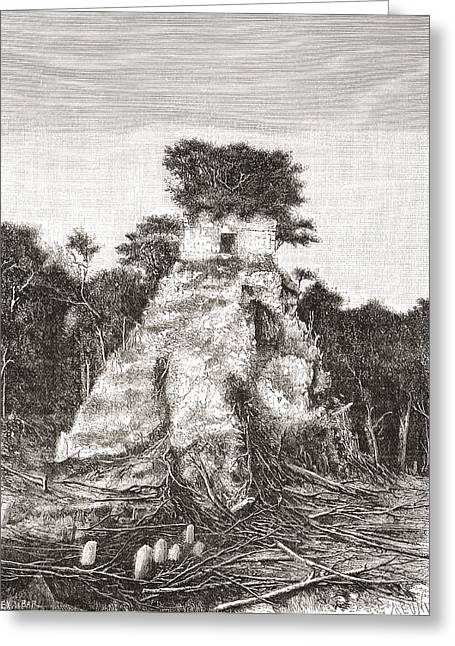 Restoration Drawings Greeting Cards - Tikal, Guatemala, Central America. The Greeting Card by Ken Welsh
