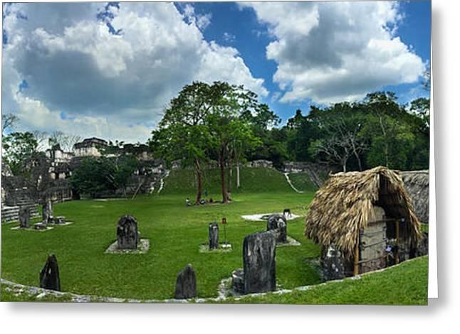 Civilization Greeting Cards - Tikal Panorama Greeting Card by George Hobbs