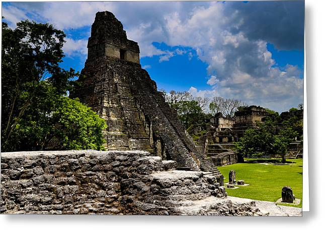 Civilization Greeting Cards - Tikal Temple and Clouds Greeting Card by George Hobbs