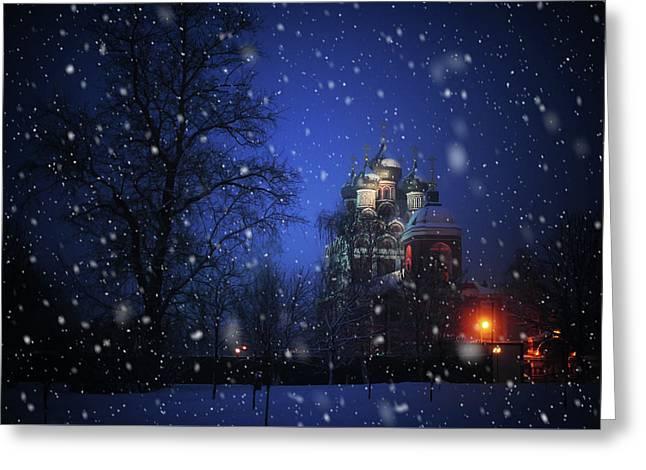 Tikhvin Church. Snowy Days In Moscow Greeting Card by Jenny Rainbow