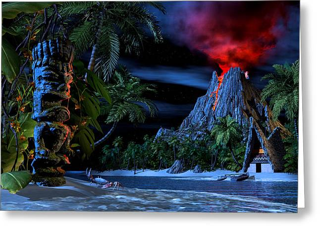 Eruption Greeting Cards - Tiki Jungle Greeting Card by Alex George