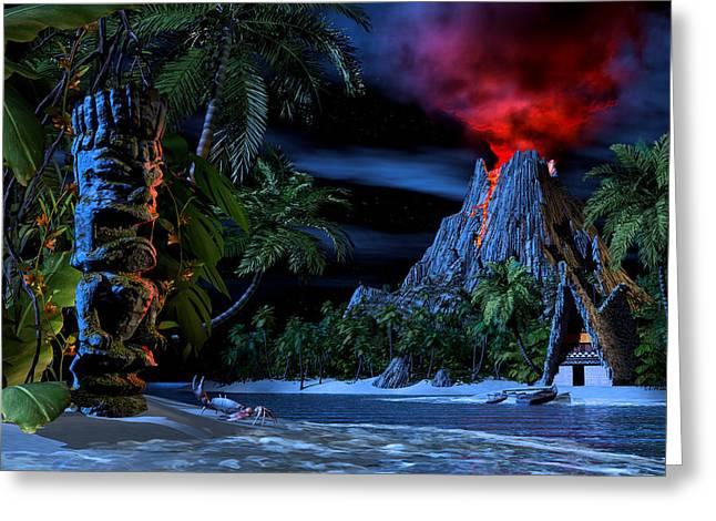 Tiki Jungle Greeting Card by Alex George
