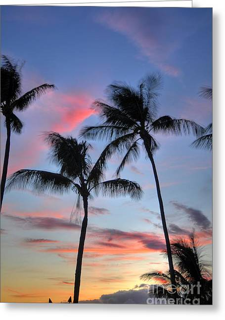 Tropical Photographs Greeting Cards - Tiki Palm Sunset Greeting Card by Kelly Wade
