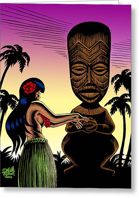 Maui Mixed Media Greeting Cards - Tiki Sunset Greeting Card by Keith Tucker