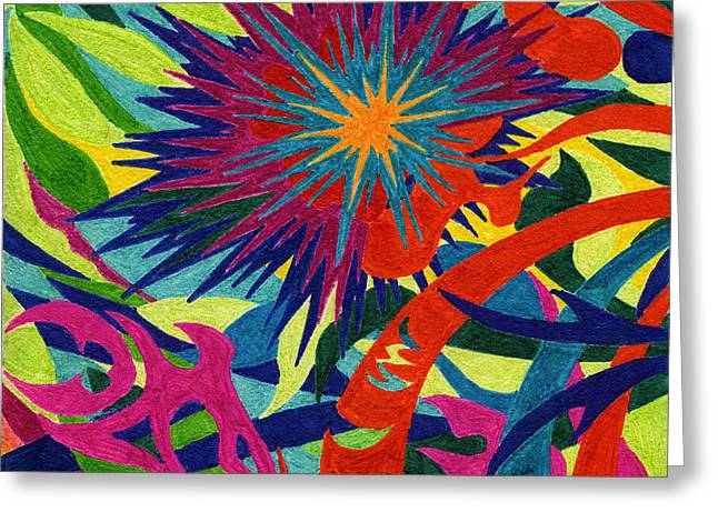 Fireworks Drawings Greeting Cards - Tile 43 - Skyrockets in Flight Greeting Card by Sean Corcoran