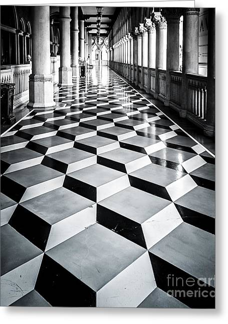 Venetian Balcony Greeting Cards - Tile Design Greeting Card by Perry Webster