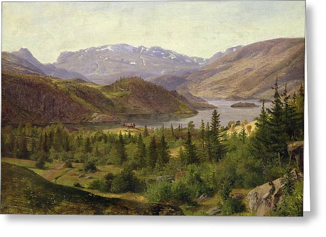Scandinavia Greeting Cards - Tile Fjord Greeting Card by Louis Gurlitt