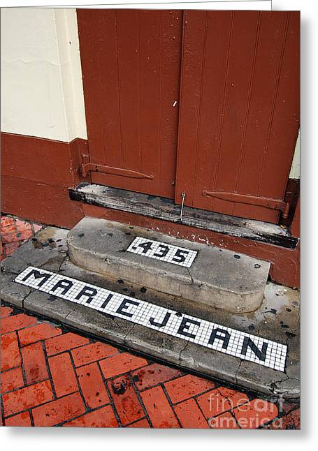 Travelpixpro Greeting Cards - Tile Inlay Steps Marie Jean 435 Wooden Door French Quarter New Orleans Greeting Card by Shawn O