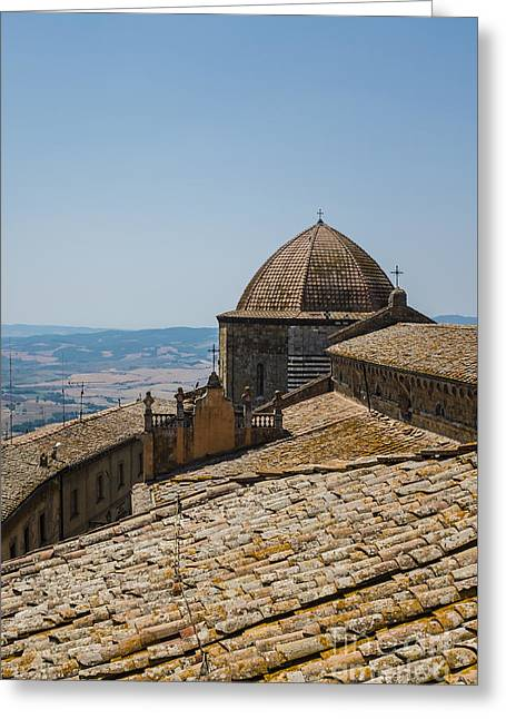 Red Clay Greeting Cards - Tile Roof Tops of Volterra Italy Greeting Card by Edward Fielding