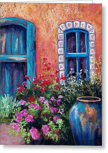 Old Door Pastels Greeting Cards - Tiled Window Greeting Card by Candy Mayer
