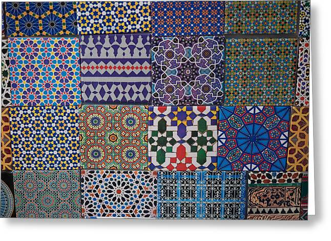 Essaouira Greeting Cards - Tiles For Sale In Market, Essaouira Greeting Card by Panoramic Images