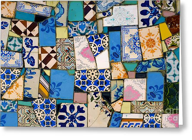 Irregular Greeting Cards - Tiles Fragments Greeting Card by Carlos Caetano