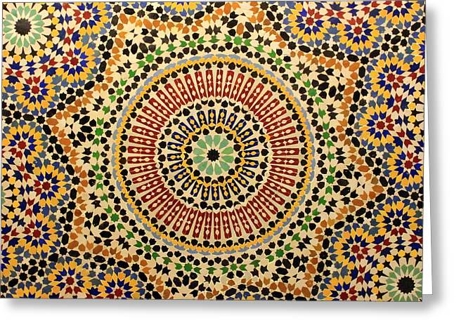 Rabat Greeting Cards - Tiles of Fez Greeting Card by Ramona Johnston