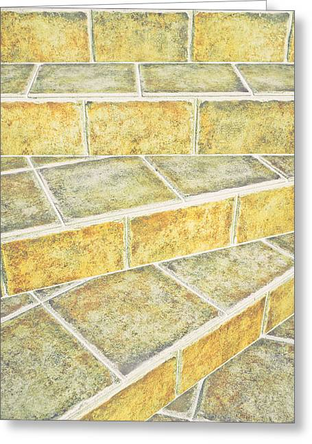 Tiles Steps Greeting Card by Tom Gowanlock
