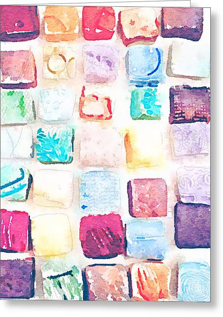 Patterned Ceramics Greeting Cards - Tiles Waterlogued Greeting Card by Evelyn Taylor Designs