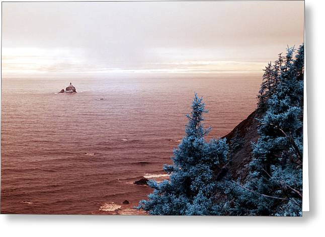 Beach Photos Greeting Cards - Tillamook Lighthouse Greeting Card by Rebecca Parker