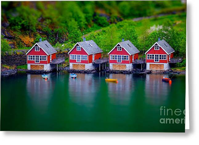 Toy Boat Greeting Cards - Tilt Shift Effect On Boat Houses Greeting Card by Shaun Wilkinson