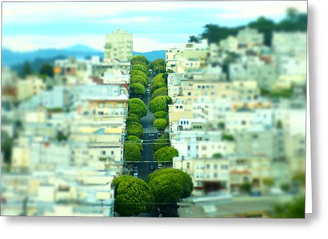 Living In San Francisco Greeting Cards - Tilt Shift I Opposite Lombard Street Greeting Card by James Mikkelsen