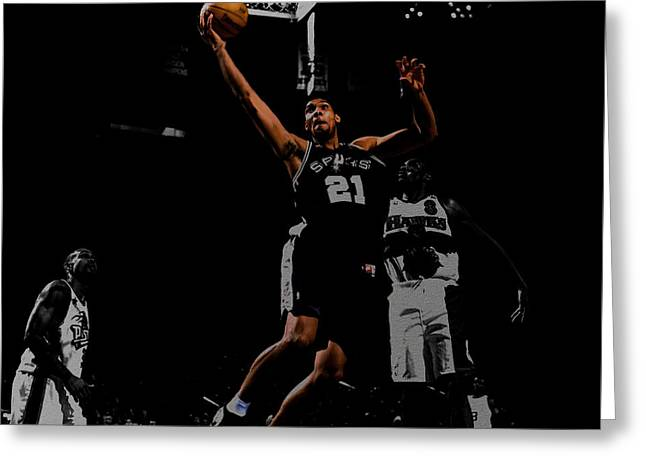 Nba All Star Game Greeting Cards - Tim Duncan 2a Greeting Card by Brian Reaves