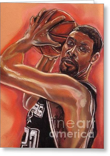 Basketball Pastels Greeting Cards - Tim Duncan Greeting Card by Americo Salazar
