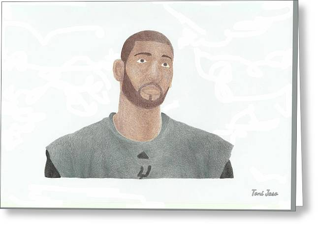 Slam Drawings Greeting Cards - Tim Duncan Greeting Card by Toni Jaso