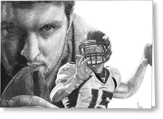 Sports Portrait Greeting Cards - Tim Tebow Greeting Card by Bobby Shaw
