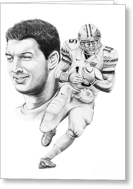 Sports Figures Greeting Cards - Tim Tebow Greeting Card by Murphy Elliott