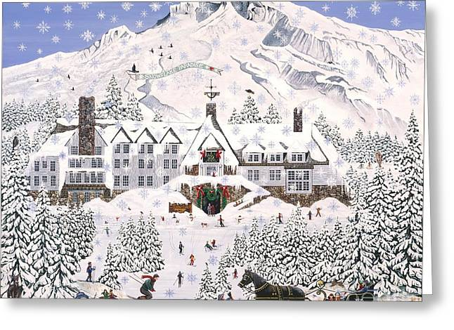 Timberline Greeting Cards - Timberline Lodge Greeting Card by Jennifer Lake